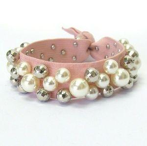 Jewelry - Freshwater Pearl Fabric Bracelet